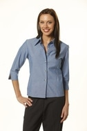 winning spirit 3/4 sleeve ladies chambray shirt style bs04 at non stop adz