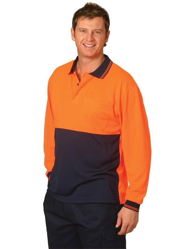 aiw hi-viz cooldry long sleeve polo style sw05 at non stop adz