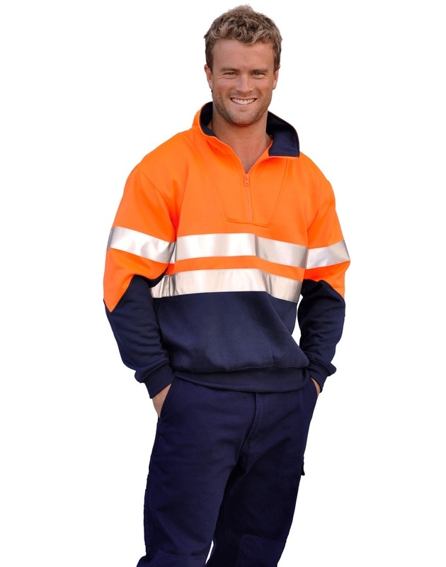 aiw hi-viz fleecy sweat with 3m tapes style sw14 at non stop adz