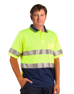 aiw hi-viz cooldry short sleeve polo with reflective tapes, style sw17a, at non stop adz