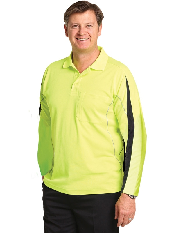 aiw hi-viz truedry long sleeve polo style sw33a at non stop adz