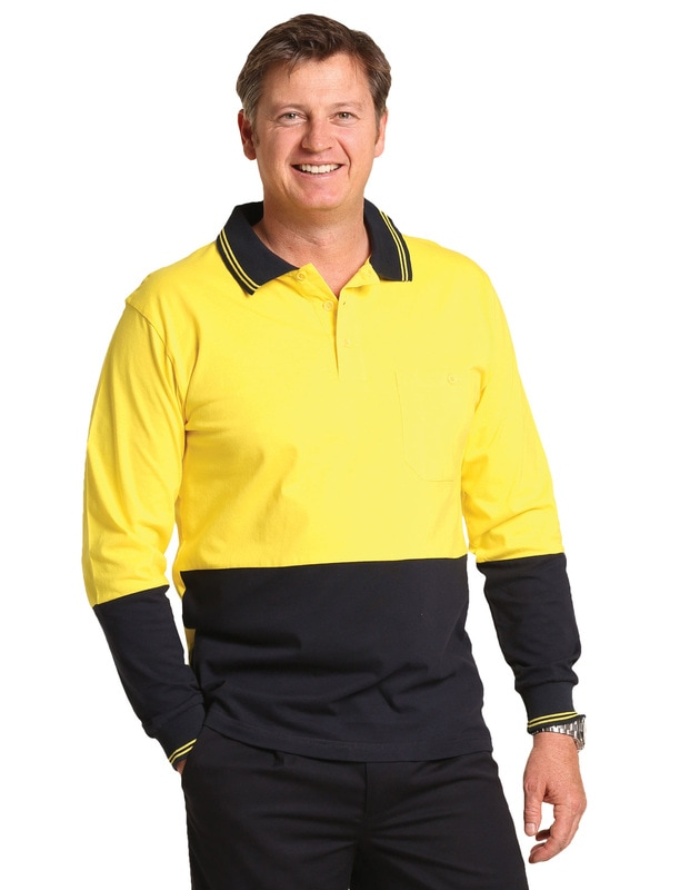 aiw hi-viz cotton long sleeve polo style sw36 at non stop adz