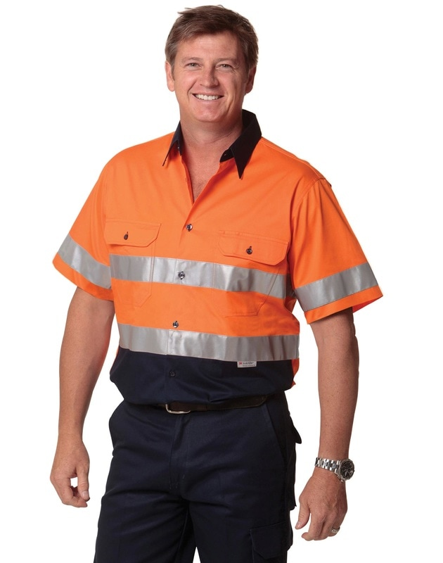 aiw hi-viz cotton short sleeve shirt with 3m tapes style sw59 at non stop adz