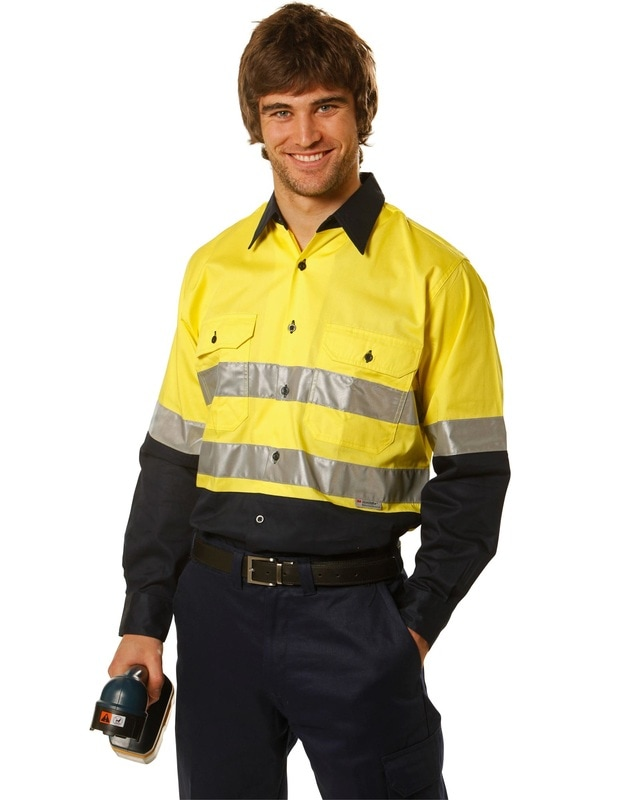 aiw hi-viz cotton long sleeve shirt with 3m tapes style sw60 at non stop adz