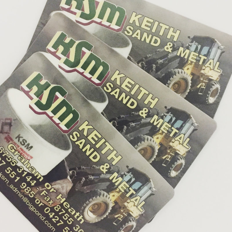 KSM - keith Sand Metal plastic business cards